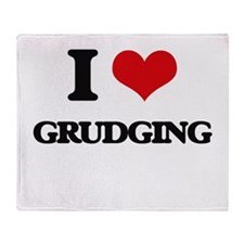 I Love Grudging Throw Blanket