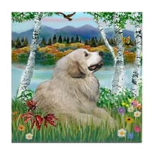 Country Birches & Great Pyrenees Tile