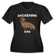 Dachshund Dad Women's Plus Size V-Neck Dark T-Shir