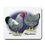 Silver Wyandotte Chickens Mousepad