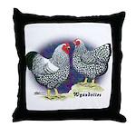 Silver Wyandotte Chickens Throw Pillow