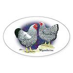 Silver Wyandotte Chickens Oval Sticker