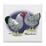 Silver Wyandotte Chickens Tile Coaster