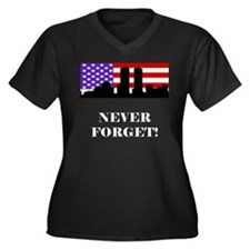 9-11: Never Forget Women's Plus Size V-Neck Dark T