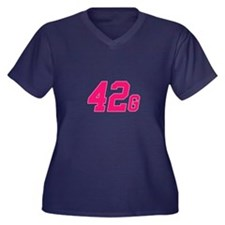 42G Women's Plus Size V-Neck Dark T-Shirt