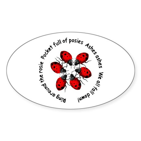 Ladybugs Playing Oval Sticker