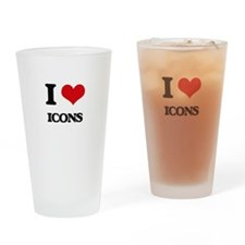 I Love Icons Drinking Glass