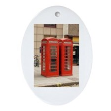 Cute Phone booth Oval Ornament