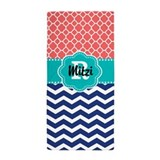 Coral blue quatrefoil chevron Beach Towels