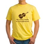 Stradivarius Violin Humor Yellow T-Shirt