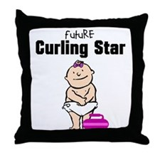 Future Curling Star Girl Throw Pillow