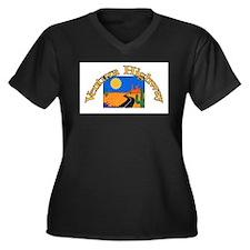 Unique Highway Women's Plus Size V-Neck Dark T-Shirt