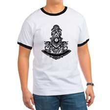 Centered Masonic design on a T