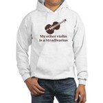 Stradivarius Violin Humor White Hooded Sweatshirt