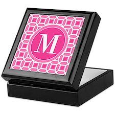 Hot Pink and White Mosaic Pattern Mon Keepsake Box