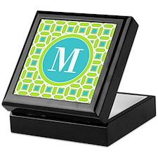 Green and Blue Mosaic Pattern Monogra Keepsake Box