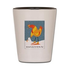 Chickens in the snow, holiday card Shot Glass