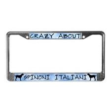 Crazy About Spinoni Italiani License Plate Frame