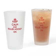 Keep calm and Roller Hockey ON Drinking Glass