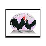 Black Dutch Chickens Framed Panel Print