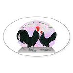 Black Dutch Chickens Oval Sticker