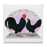 Black Dutch Chickens Tile Coaster