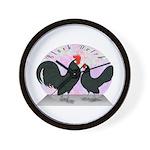 Black Dutch Chickens Wall Clock