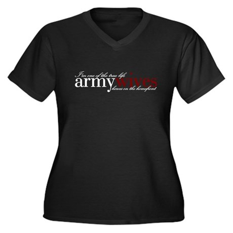 Real life armywives Women's Plus Size V-Neck Dark