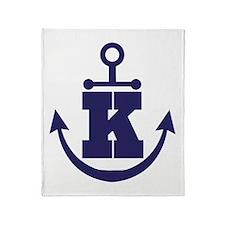 Anchor Monogram K Throw Blanket