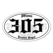 """MIAMI 305 OLD SKOOL"" Oval Decal"