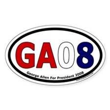 George Allen For President 2008 GA08 Oval Decal