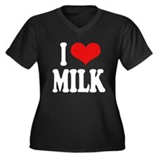 I Love Milk Women's Plus Size V-Neck Dark T-Shirt