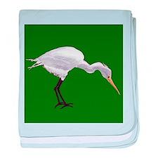 Egret on green baby blanket