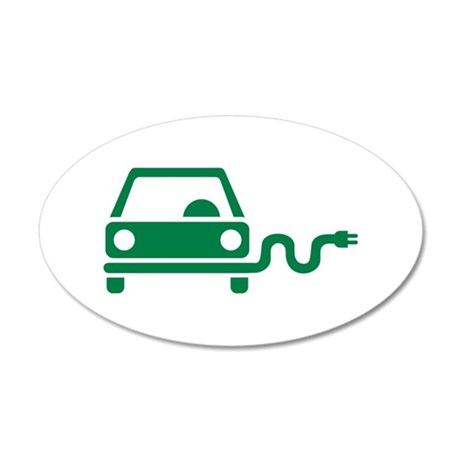 Green electric car 20x12 Oval Wall Decal