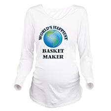 World's Happiest Bas Long Sleeve Maternity T-Shirt