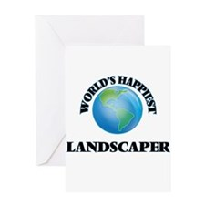 World's Happiest Landscaper Greeting Cards