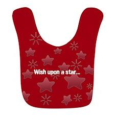 Silver Glossy Stars Pattern Gray Red Bib