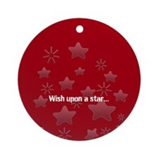 Silver Glossy Stars Pattern Gray Red Ornament (Rou