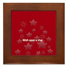 Silver Glossy Stars Pattern Gray Red Framed Tile