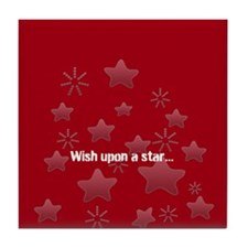 Silver Glossy Stars Pattern Gray Red Tile Coaster