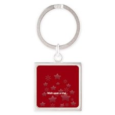 Silver Glossy Stars Pattern Gray Red Keychains