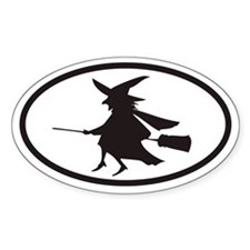 Flying Witch on a Broom Euro Oval Bumper Stickers
