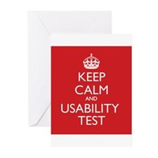 KEEP CALM and USABILITY TEST Greeting Cards