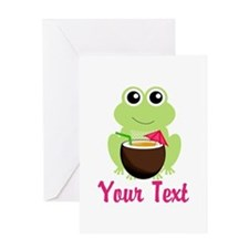Personalizable Cocktail Frog Greeting Cards
