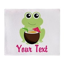 Personalizable Cocktail Frog Throw Blanket