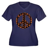 Black/Orange Peace Sign Women's Plus Size V-Neck D