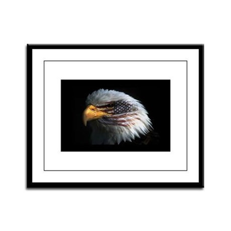 American Flag Eagle Framed Panel Print