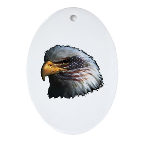 American Flag Eagle Oval Ornament