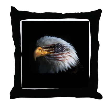 American Flag Eagle Throw Pillow