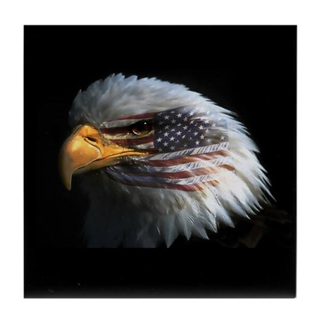 American Flag Eagle Tile Coaster
